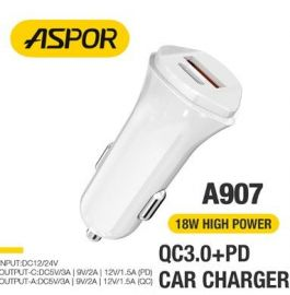 ASPOR A907 PD +QC 18W Fast Car Charger LED light