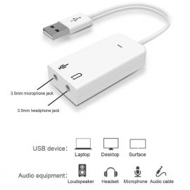 External USB 2.0 Virtual 7.1 Channel Audio Sound Card Adapter for PC/Laptop