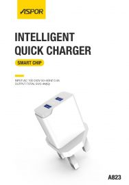 ASPOR A823 2.4 A IQ Home charger LED blue light 2 USB / UK PIN